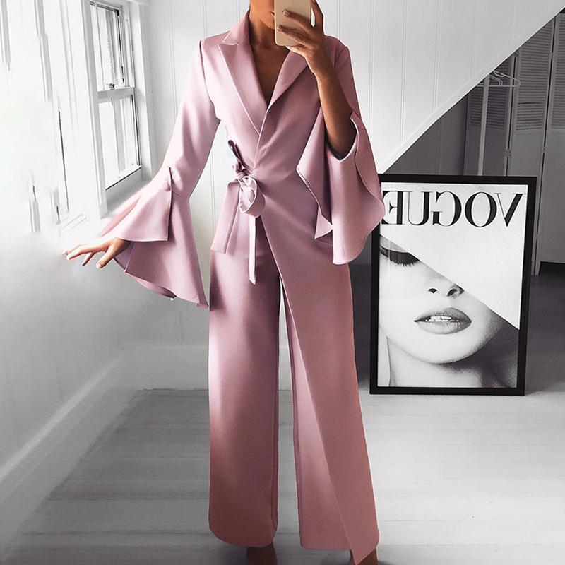 Flare manches larges jambe pantalon longue combinaison femmes 2019 élégant vêtements de travail formel fête barboteuse ceinturée nœud côté combinaison