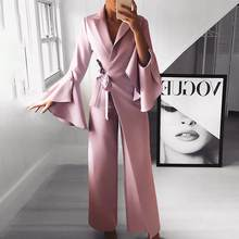 Flare mouw breed been broek lange jumpsuit vrouwen 2019 elegant workwear formele party romper Belted knoop side jumpsuit(China)