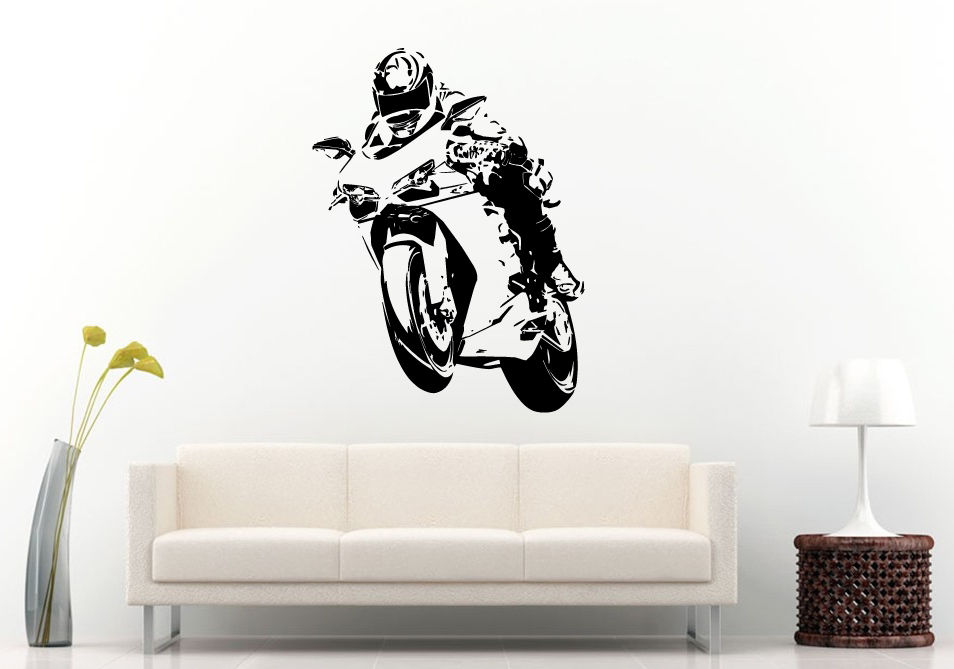 D387 Wall Room Decal Vinyl Sticker Racing Speed Crotch Rocket Motorcycle Bike ...