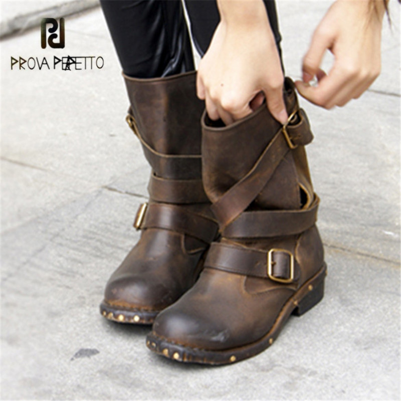 Prova Perfetto Retro Genuine Leather Women Ankle Boots Brown Round Toe Platform Rubber Flat Booties Rivets Studded Botas Mujer prova perfetto winter women warm snow boots buckle straps genuine leather round toe low heel fur boots mid calf botas mujer