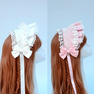 Image 3 - Afternoon Time ~ Sweet Ruffled Lolita Headband with Lace Trimming