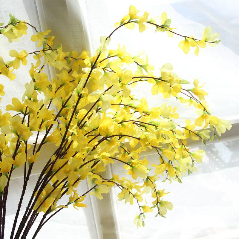 104cm artificial long flower source material silk cloth flower yellow color winter jasmine jasminum nudiflorum