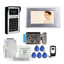 """ENVÍO de la Nueva 7 """"LCD Monitor de Vídeo Teléfono de Puerta de Intercomunicación Timbre de La Cámara Kit + RFID A Prueba de agua Teclado Numérico + Inoxidable E-LOCK"""