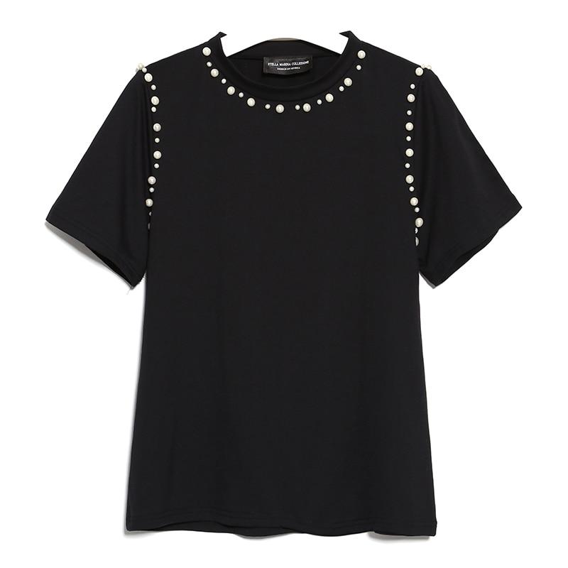Nuevo 2017 Mujeres Del Verano Top de Manga Corta Blusa Camisa O Cuello con Cuentas de Color Sólido Negro Blanco Camiseta Ocasional Camisas de Algodón 2355