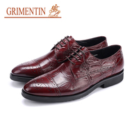 GRIMENTIN 2017 New Oxford Mens Shoes Dress Sales Genuine Leather Black Brown Red Fashion Formal Business