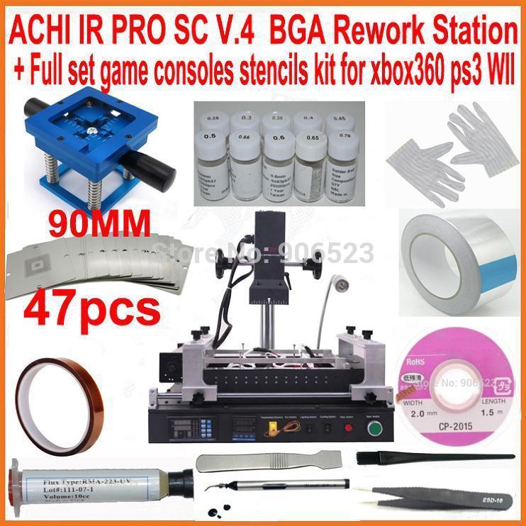 Original ACHI IR PRO SC V4 infrared BGA rework station + 90mm 47pcs game consoles bga stencils kit for XBOX360 PS3 WII repair