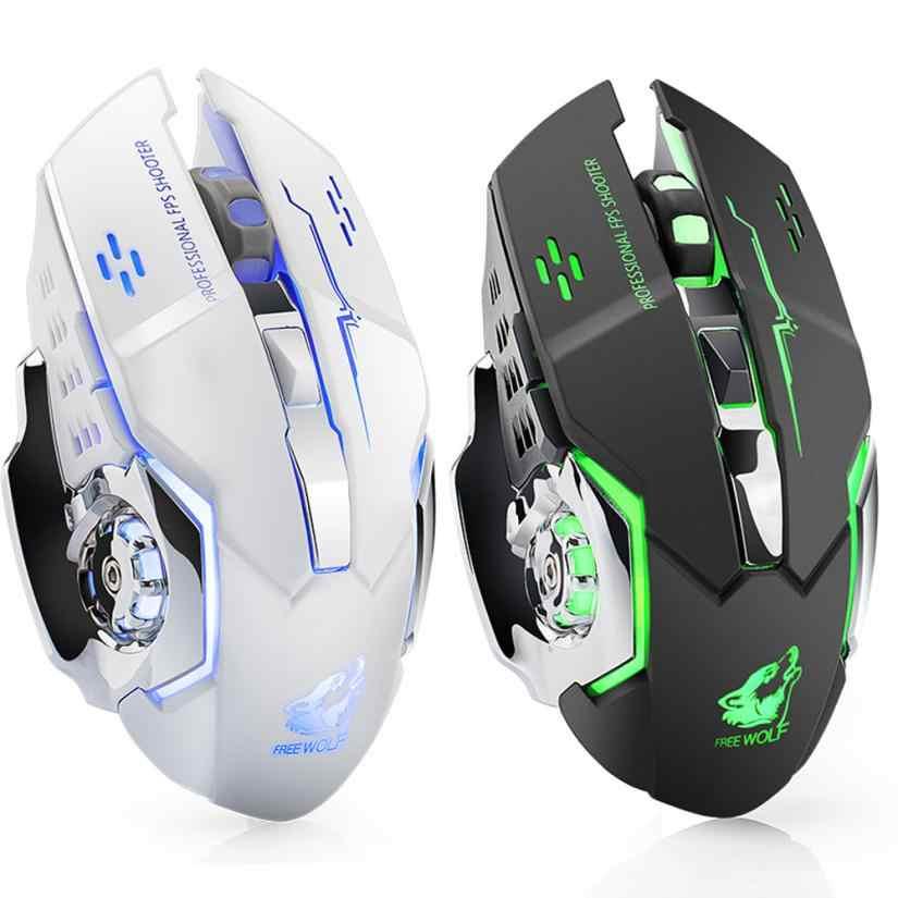 LOL X8 Silencioso Sem Fio Recarregável LED Retroiluminado Gaming Óptico USB Ergonômico Mouse Usb Rato Maus # T10