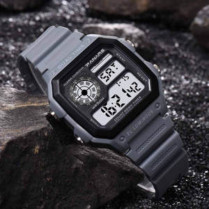 Waterproof Dual Time Personality Men's Multi Function LED Electronic Watch