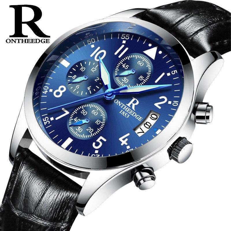 170781e3649 ONTHEEDGE Relógio Masculino Relógio Dos Homens de Negócios de Luxo Homem  Relógio De Quartzo relógio Relógio De Couro Genuíno Dos Homens À Prova D   Água ...