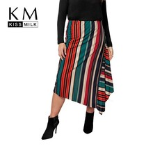 Kissmilk Plus Size Women Clothes Office Lady Style High Waist Multicolor Striped Asymmetrical Skirt