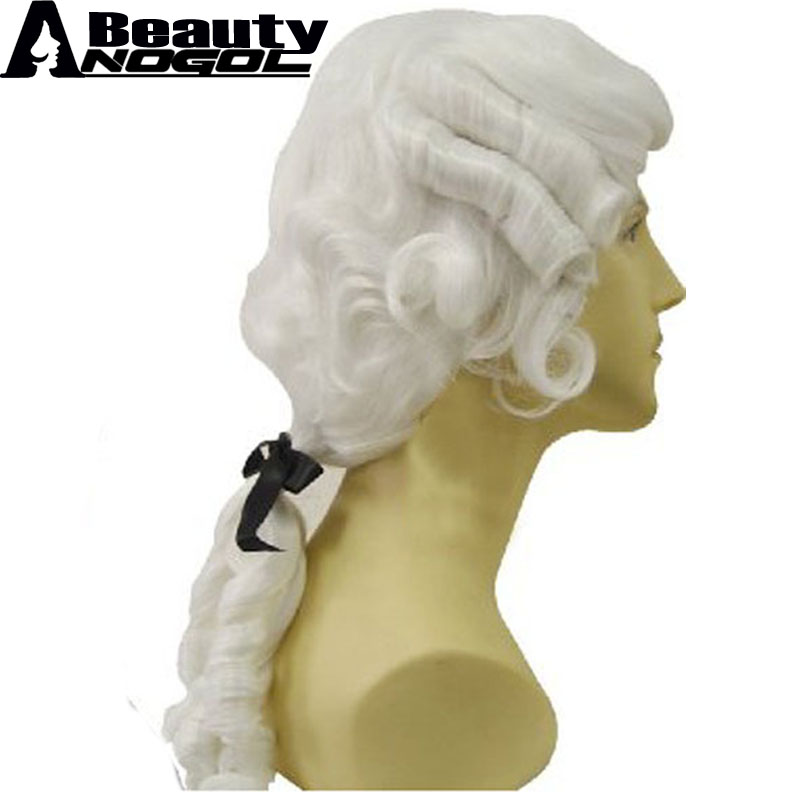 ANOGOL BEAUTY Baroque Curly White Male Lawyer Judge Colonial Deluxe Historical Costume Synthetic Cosplay Wig For Halloween ...