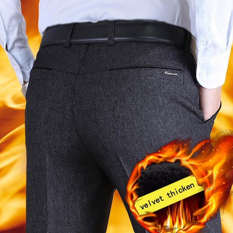 Autumn Winter Business Casual Mens Suit Pants Male Plus Velvet Thicken Loose Cashmere Trousers Straight Classical Dress Pants