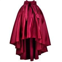Long Satin Skirts Womens Plus Size 7XL Autumn Vintage High Waist Ball Gown Asymmetrical Mermaid Bow Belt Party Maxi Skirt