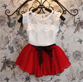 Новинка 2015, летняя детская одежда, модная одежда для девочек, трикотаж, детская одежда для девочек, наборы, платья+короткие футболки, 2 шт. в наборе