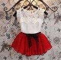 2015 Nueva ropa de verano conjunto para niñas ropa tejida juego de vestido + short con camiseta juego de 2 piezas