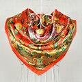 2015 Nuevo Diseño Rojo Naranja de Poliéster Bufanda de la Manera del Patrón de Flor de la Bufanda de Seda de Invierno Primavera Satén Cuadrado Grande Bufandas Wraps