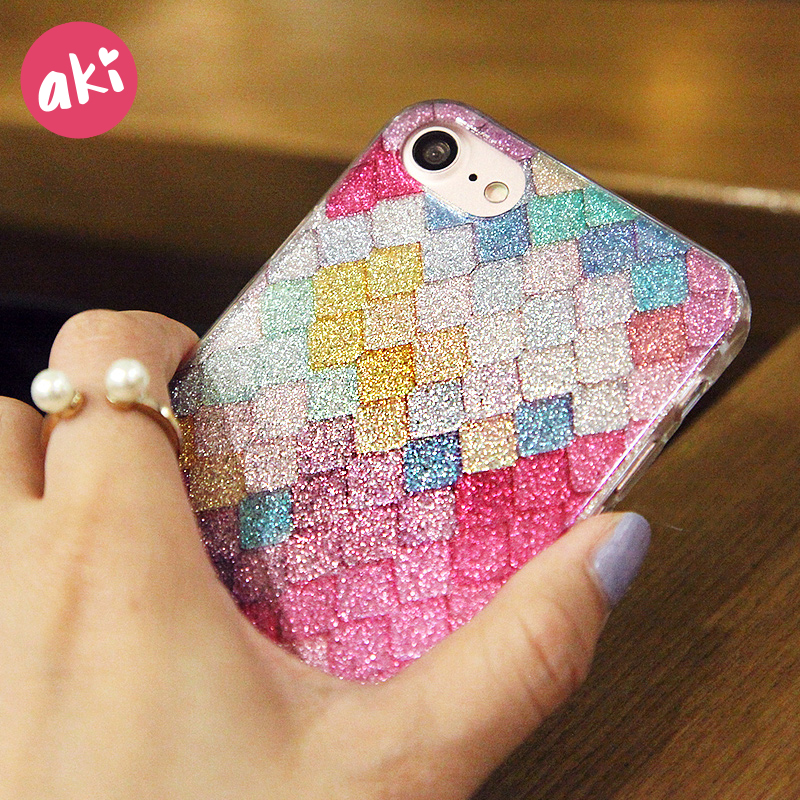 Galleria fotografica AKI Glitter Phone Case for iPhone 8 7 Plus Case Shining Scales Mermaid Bling Rhombic Pattern Cover for iPhone 6 6s Plus Case