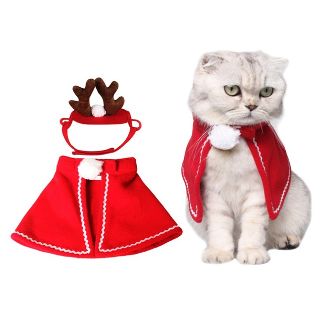 Christmas Clothes Cats Costumes Cute Red Fleece Cloak and Antler Headwear Pet Costume Cat Cloak Clothes Accessory vetement chat