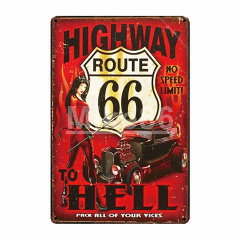 [Mike86] двигатель масла гаража Чемпион Mobil Route 66Tin знак папа гаражный Декор шин плакат старый Металл живопись FG-213