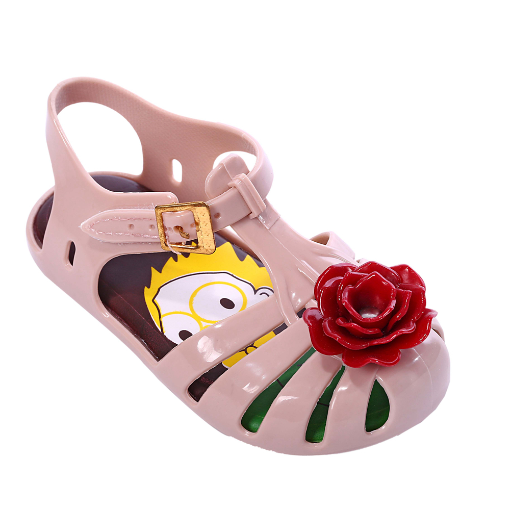 2018 Mini Melissa New Girls Sandals Rose Flower Style Baby kids Shoes Jelly Print Insole PVS Shoe 4 Color Choices Size 6-11