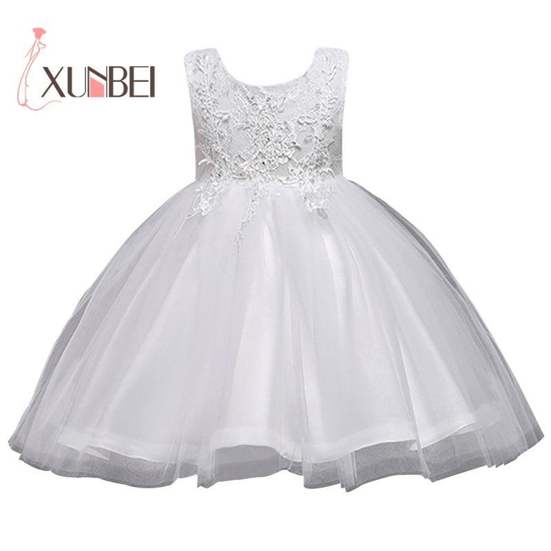 Knee Length White Flower Girl Dresses 2018 Organza Applique Girls ...