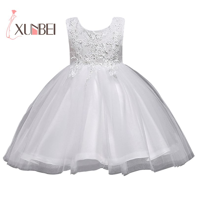 Knee Length White   Flower     Girl     Dresses   2019 Organza Applique   Girls   Pageant   Dresses   First Communion   Dress   Wedding Party Gown