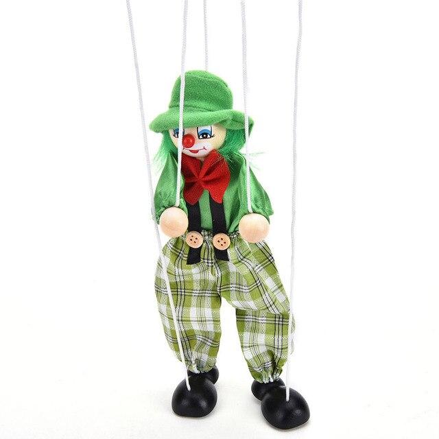 Забавные винтажные красочные Pull String кукольные клоуны деревянные марионетты игрушки ручной работы шарнир активности куклы Подарки для детей