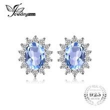 Classic Princess Diana Natural Blue Topaz Stud Earrings Genuine 925 Sterling Silver Fine Jewelry For Women Fashion Earrings 2016