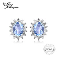 Classic Princess Diana Natural Blue Topaz Stud Earrings Genuine 925 Sterling Silver Fine Jewelry For Women