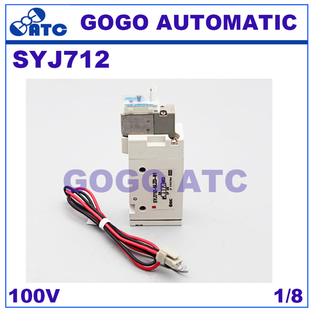 smc solenoid valve syj712 pneumatic component 2 position single  electromagnetic solenoid valve 100v three usually closed 1/8