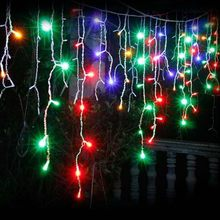 LED christmas decoration lights 3.5m 96 led curtain icicle string fairy lights For Home New year Xmas Wedding Party Indoor Decor(China)