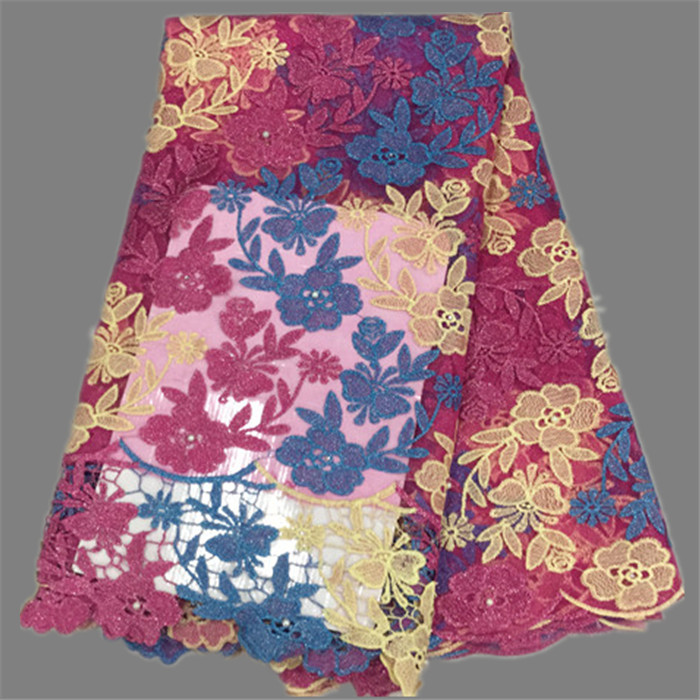 Excellent fuchsia blue yellow flower embrodiery French lace African net lace fabric with cord lace for