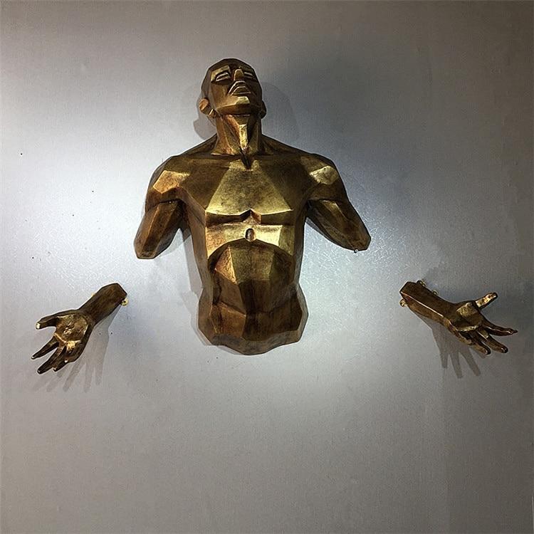 2019New Modern Character Sculpture Angel Man Wall Hanging Statue Home Decoration Handicraft European Retro Creative Art Figurine