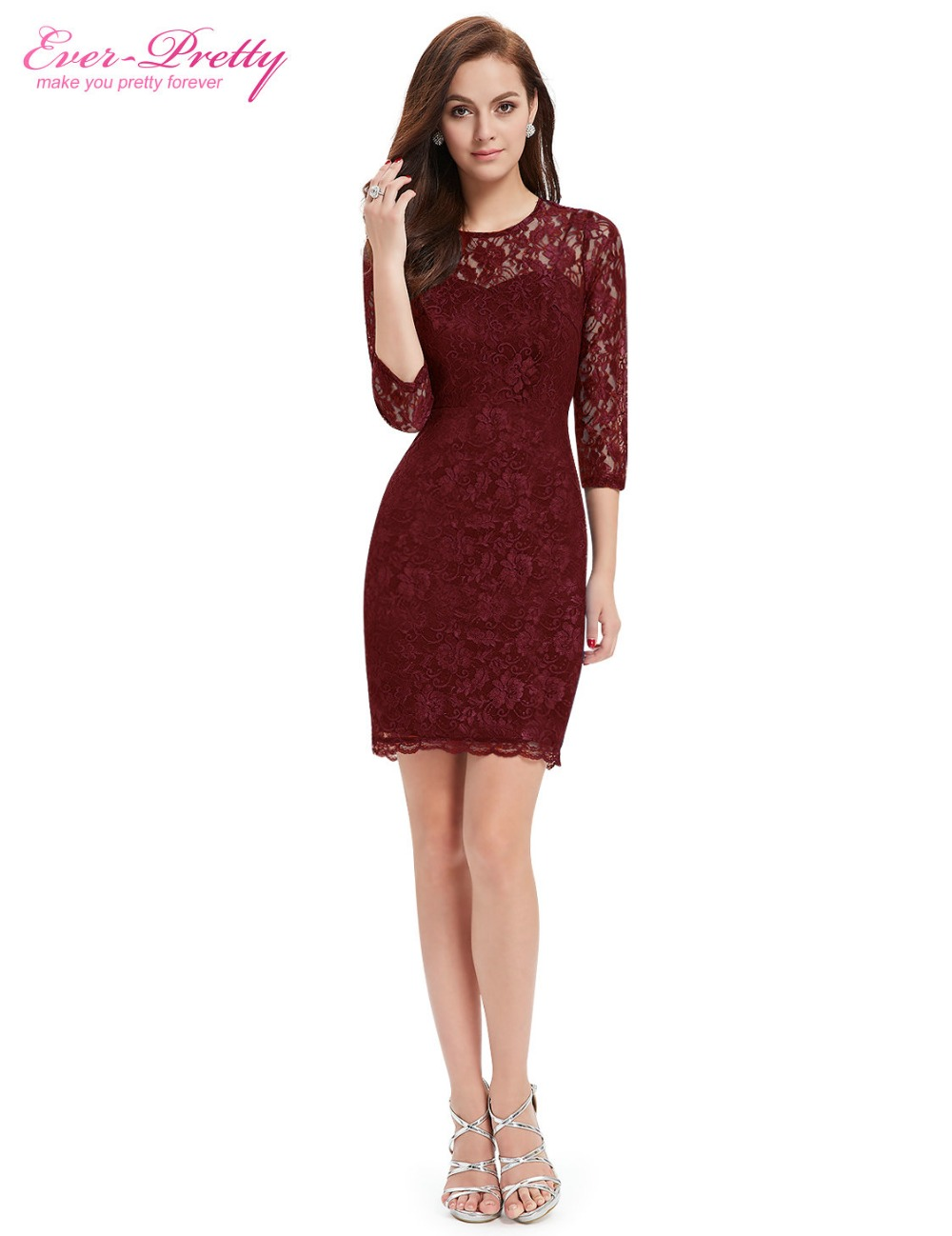 Cocktail Dresses Ever-Pretty EP03792 Special Occasion Fashion Women Long Sleeve Slim Fit Elegant Lace 2018 Cocktail Dresses
