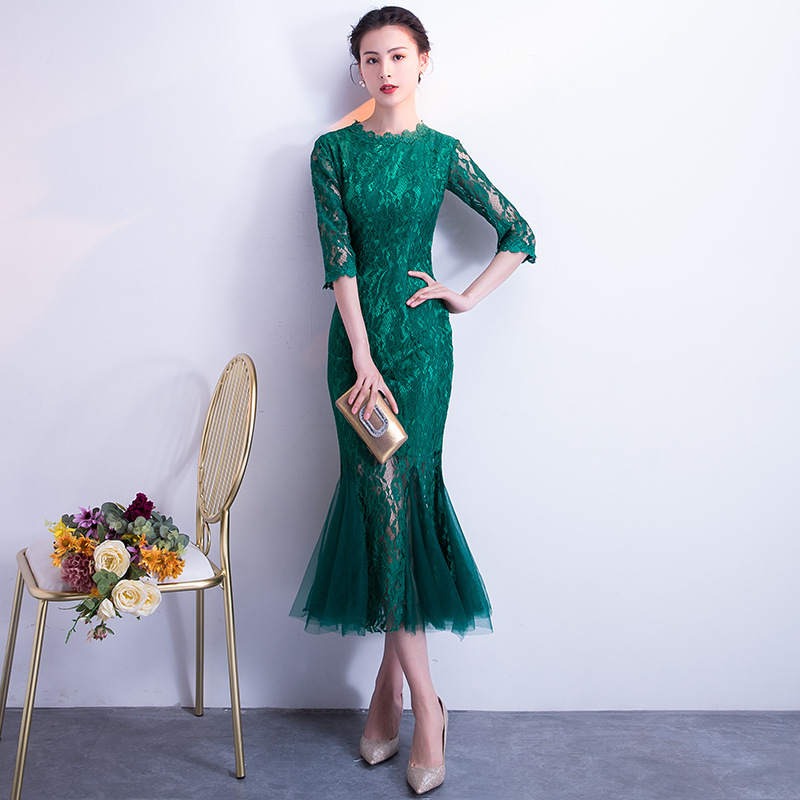 Traditionnel chinois mariage Cheongsam robes de demoiselle d'honneur fille Robe femmes vert sirène Qipao Oriental colliers Robe Chinoise