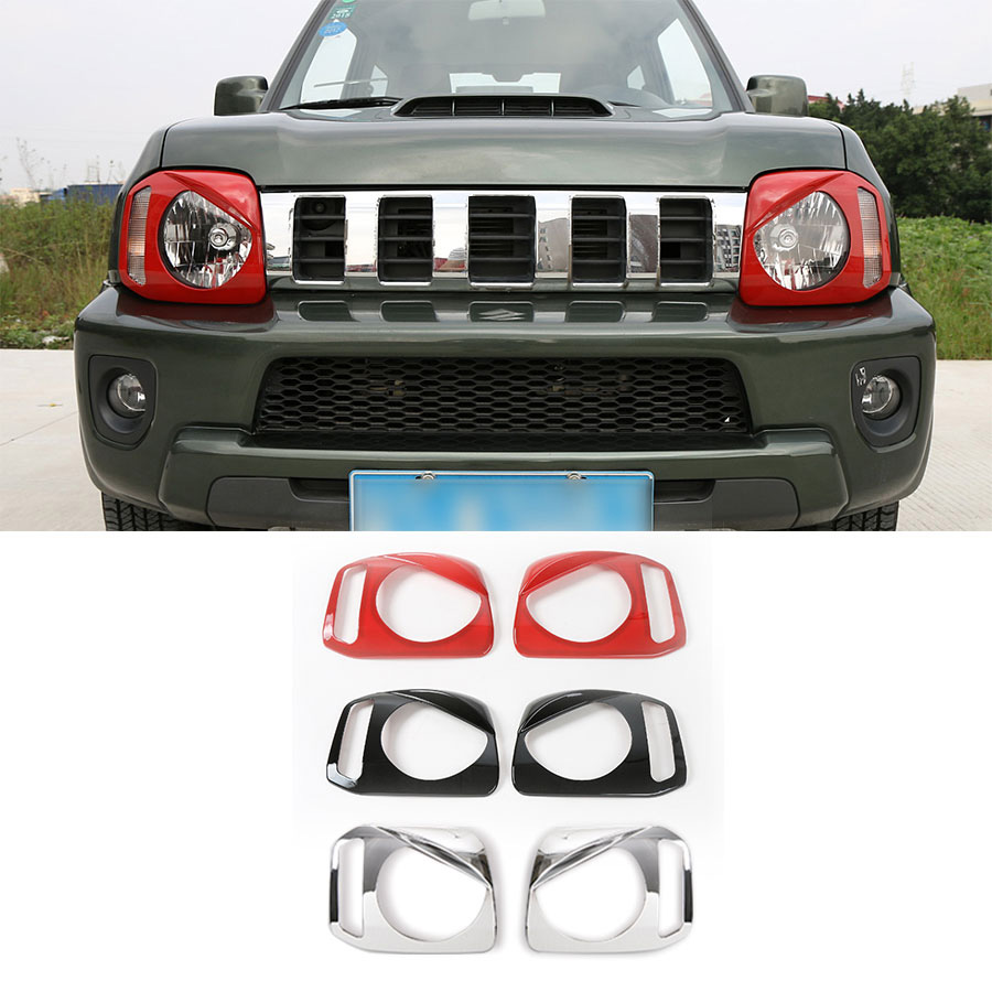 цены 2PCS Car-Styling High Quality Angry Head Light Cover Bezels For Suzuki Jimny 2011 - 2015 ABS Front Headlight Lamp Covers Trim