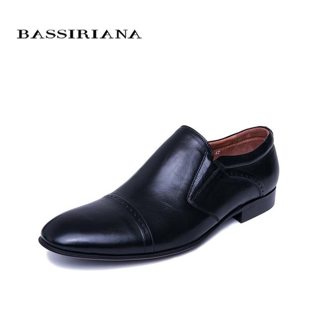 BASSIRIANA/Новинка 2019 г. Деловая обувь из натуральной кожи, Мужская официальная обувь, весна-осень, черный цвет, размеры 39-45, русский размер, ручная работа