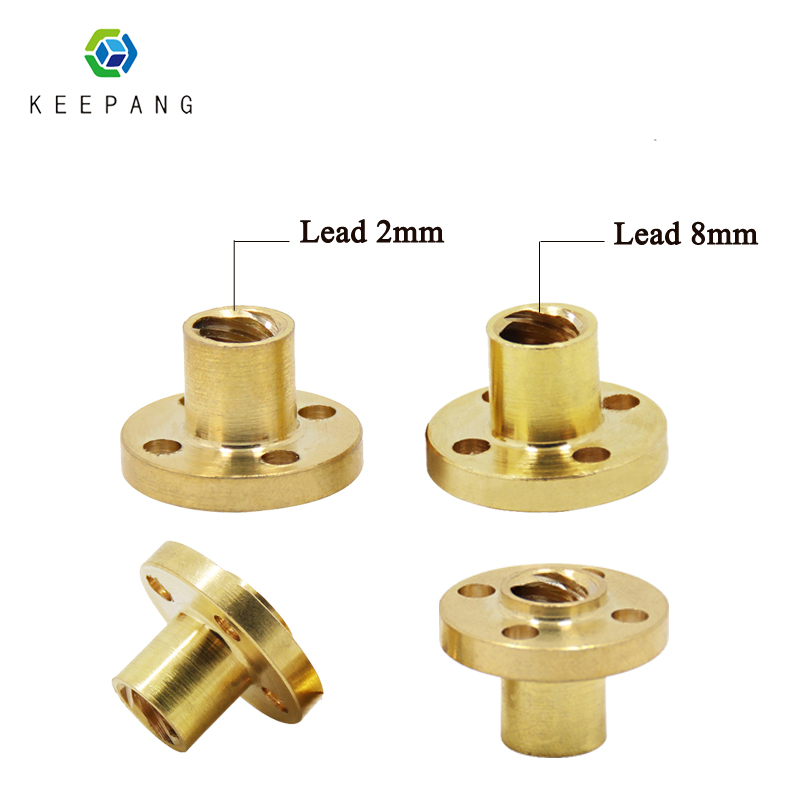 3D Printer Parts Copper Trapezoidal Screw Nut For T8 Screw T8 Nuts Stepper Motor Rail Lead Screw