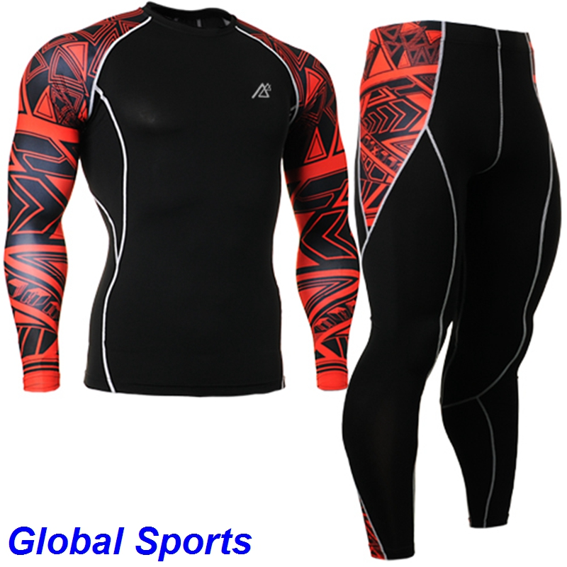 2017 plus size long sleeve mens yoga sets suit red strip printed shirts+3d pants size s-4xl