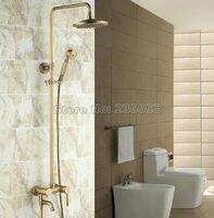 Antique Brass Vintage Retro Bathroom Tub Wall Mount Rain Shower Faucet Set Mixer Tap Taps Crs041