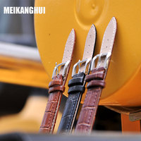 MEIKANGHUI New Product Black Brown Watchband Genuine Leather Watch Band 14mm 16mm 18mm 20mm 22mm 24mm