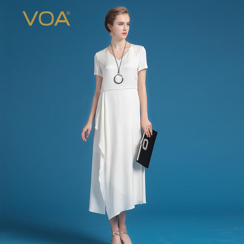 VOA Sommarsilke kvinnor vit kontor klänning mode kortärmad smal - Damkläder