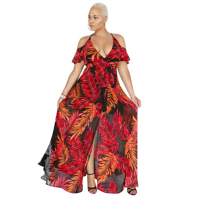 8128eb0549c Sexy Chiffon Wrap Maxi Dress Women Tropical Print Cold Shoulder Split  Summer Dress 2018 Boho Beach