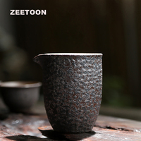 220ml Japan Style Vintage Coarse Pottery Rust Glaze Fair Cup Cha Hai Tea Cup Tea Sea Kung Fu Tea Set Teacup Home Decor Cha Hai
