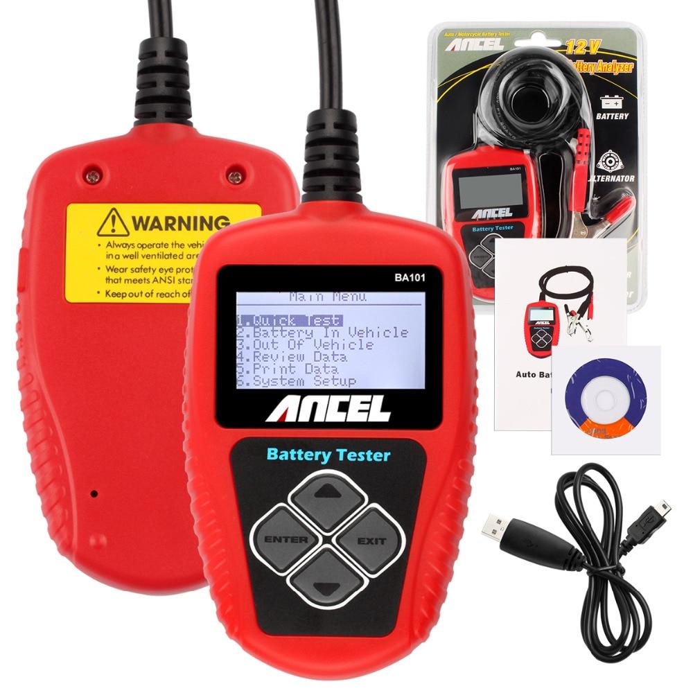 Цена за 10 ШТ. 12 В Автомобильный Аккумулятор Тестер Ансель BA101 Цифровой Дисплей с Японский Корейский Язык Емкость Батареи Тестер 2000CCA 220AH