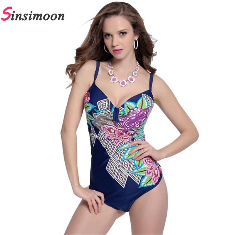 2017 One Piece Swimsuit Deep Blue Geometric Flower Print  Swimwear plus size bathing suit Sexy Push Up Backless Women swim suit backless print plus size one piece swimsuit