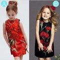 spring robe princesse fille flower printing meisjes jurken sleeveless party kids dress Fashion fancy girl summer dresses
