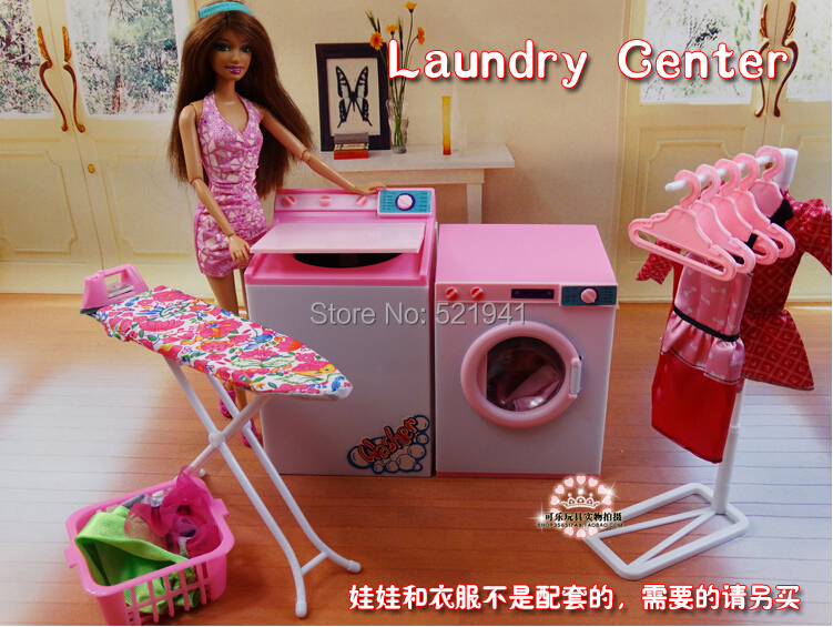 Free Shipping Girl birthday gift plastic Play Set dry cleaners Laundry Center doll accessories for barbie doll,doll furniture free shipping new arrival christmas birthday gift children play set doll furniture living room tv accessories for barbie doll
