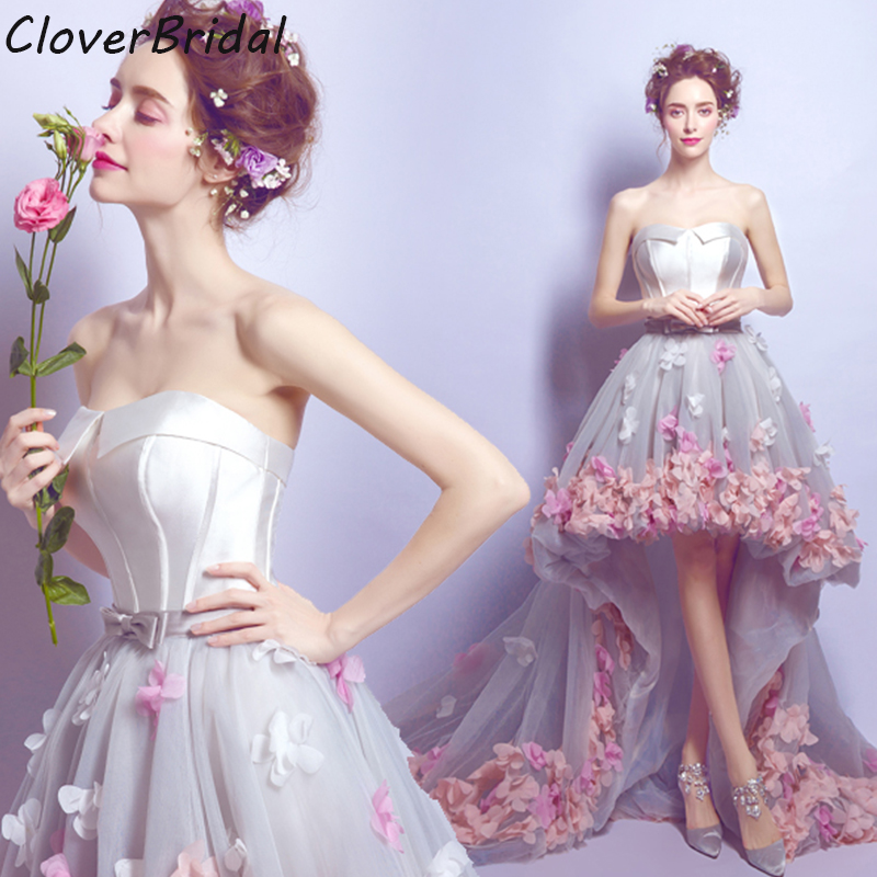 6bf3133b2bd Romantic pink pearl pink white flowers high-low graduation-dresses-for-high-school  grey short front long back homecoming Dresses