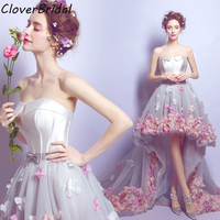 Romantic pink pearl pink white flowers high low graduation dresses for high school grey short front long back homecoming Dresses